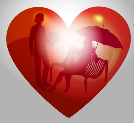 Illustration young couple on a bench  Valentines day Vector