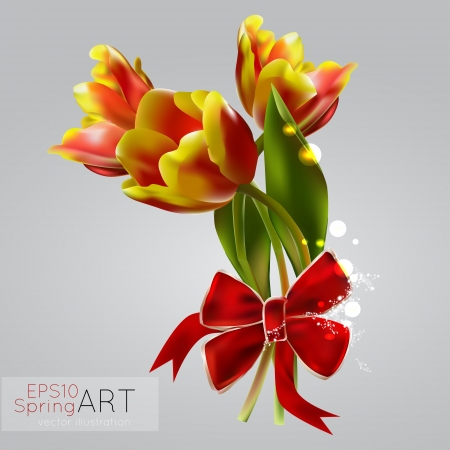 Spring background with tulips. Vector illustration. Vector