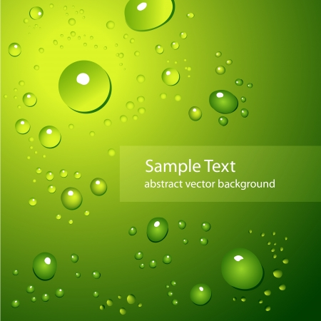 Abstract background with water drops on green - vector illustration Illustration