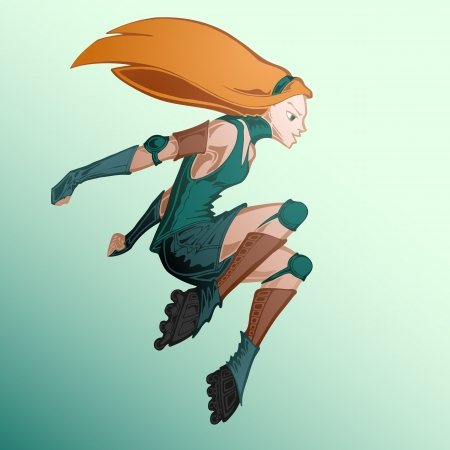 Vector illustration of roller girl. Vector