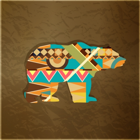 Bear decorative ornament. Silhouette of animal with colourful pattern Vector