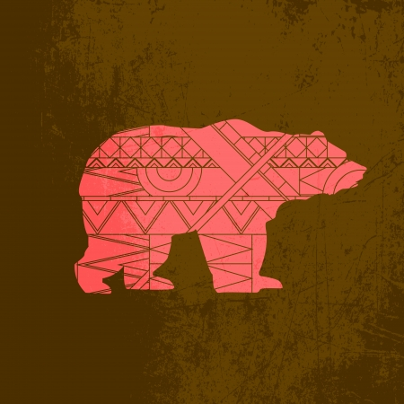 Bear decorative ornament. Silhouette of animal with red pattern