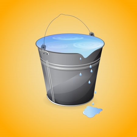 Bucket of water. Vector illustration. Stock Vector - 19466111
