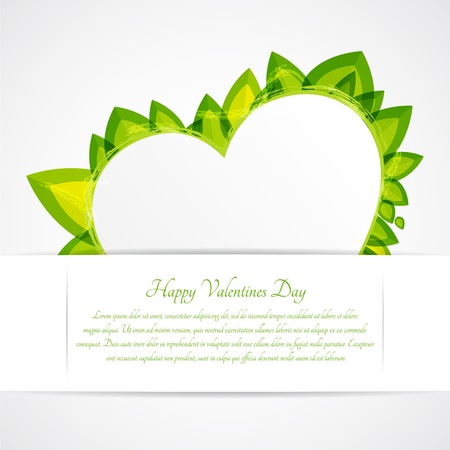 Heart with leaves. Vector greeting card for Valentines day. Vector