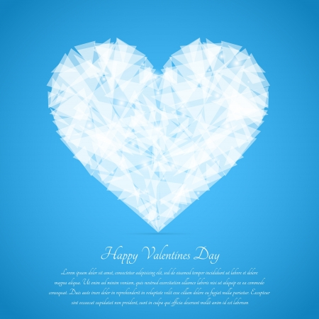 Glass broken heart. Vector greeting card for Valentine's day. Vector