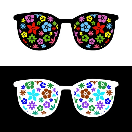 Fashion sunglasses with flowers Stock Vector - 19555511