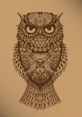Owl on a brown background Illustration