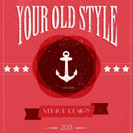 Card with Vintage anchor Vector