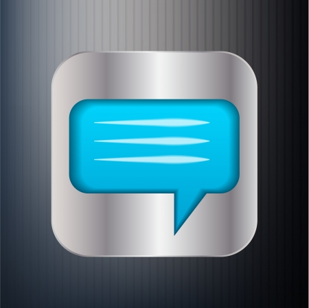Metallic speech bubble icon Vector