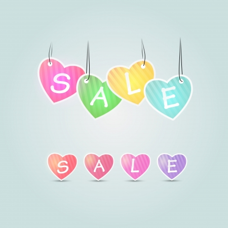 Colorful sale vector hearts. Sale concept Vector
