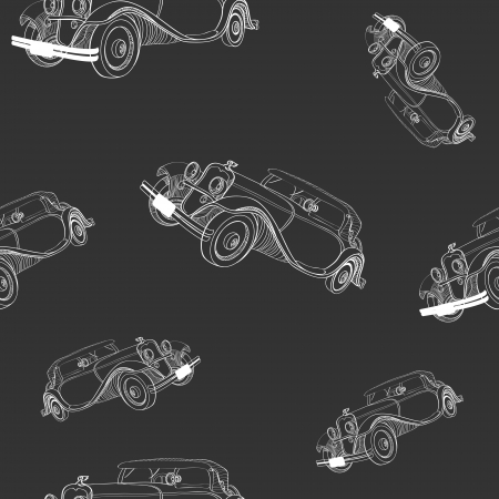 Seamless background with vintage cars Vector