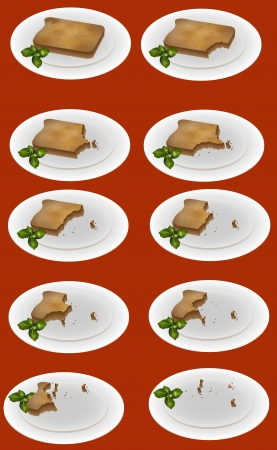 Eating up the toast on the plate - vector illustration Stock Vector - 19556196