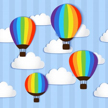 Hot Air Balloons in the sky - vector illustration Vector