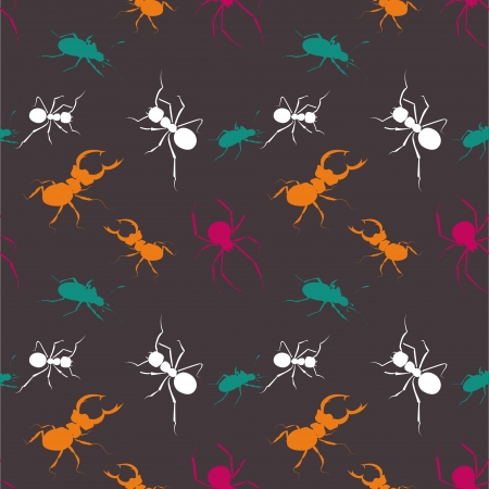 Seamless bugs pattern - vector illustration Vector