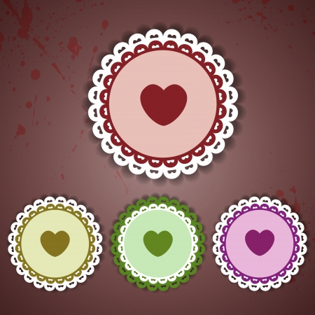 Circle and heart lace - vector illustration Vector