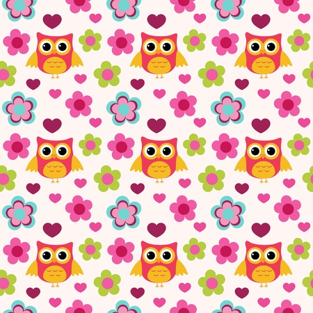 Seamless colorful owl pattern for kids in vector Vector