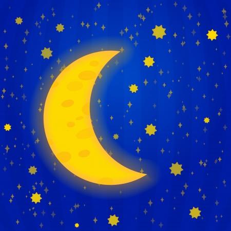 Moonlight night - vector illustration Illustration