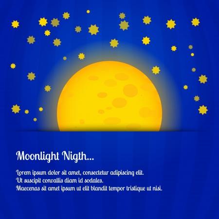 Moonlight night - vector illustration Vector