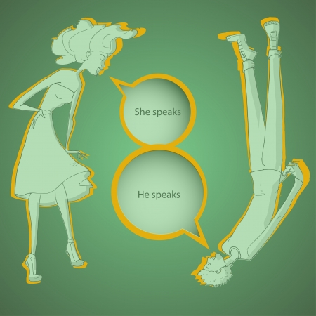 Boy and girl talking - vector illustration Stock Vector - 19555509