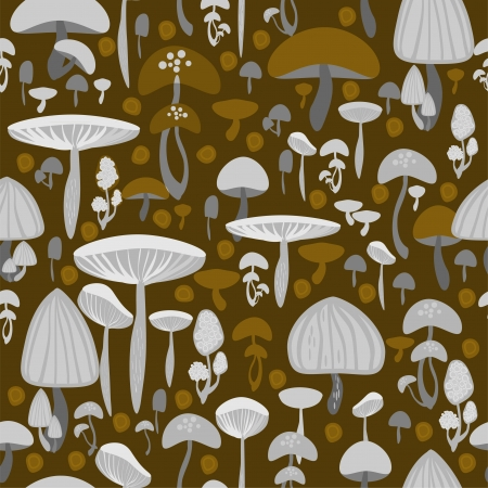 Mushrooms seamless pattern - vector illustration Stock Vector - 19556170