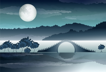 River bridge with reflection  Vector