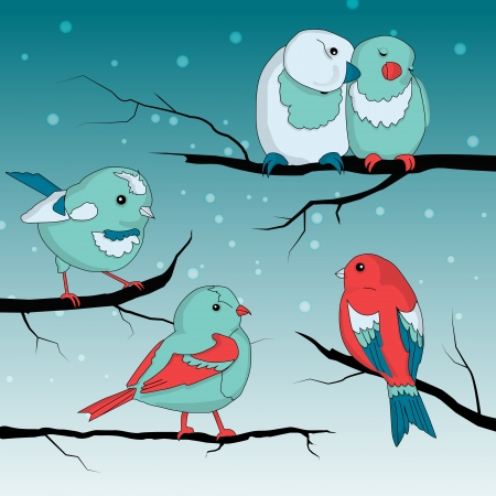 Cute little birds on wintry landscape Vector