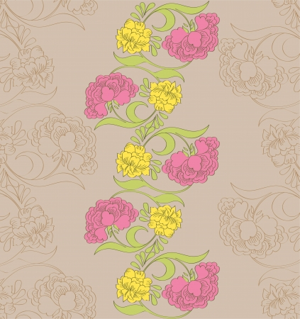 Vector floral seamless pattern with fantasy blooming flowers Vector