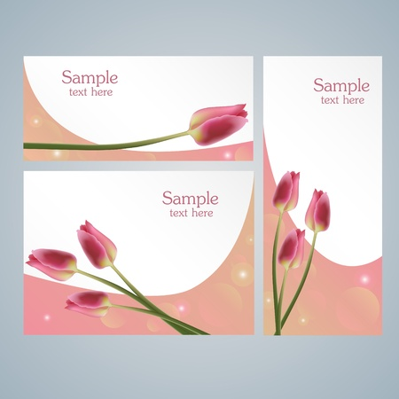 Brochure template cards with red tulips Vector