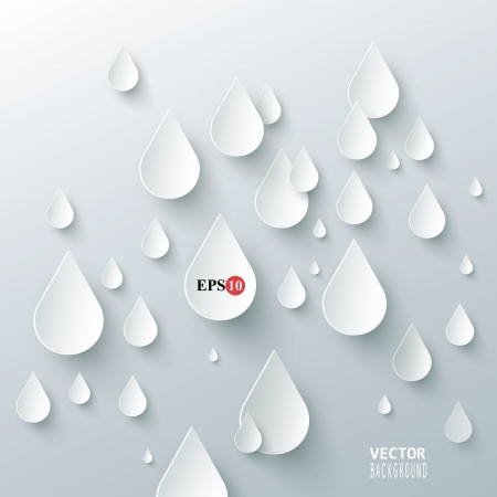 Rain drops on a white background Vector