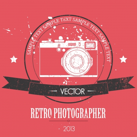 Retro camera with vintage background Vector