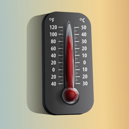Thermometer on orange and green background Vector