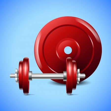 red dumbells on blue background. eps10 vector composition Vector