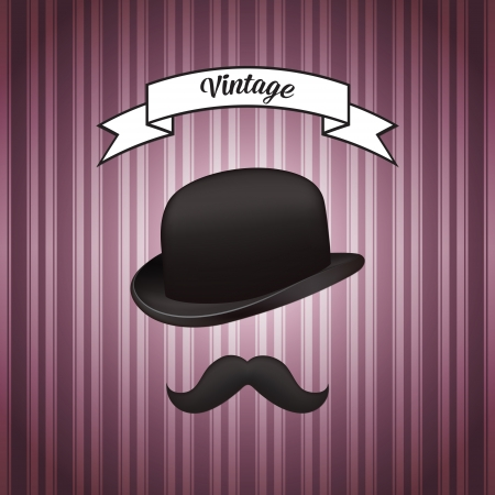 Hat and mustache Stock Vector - 19592158
