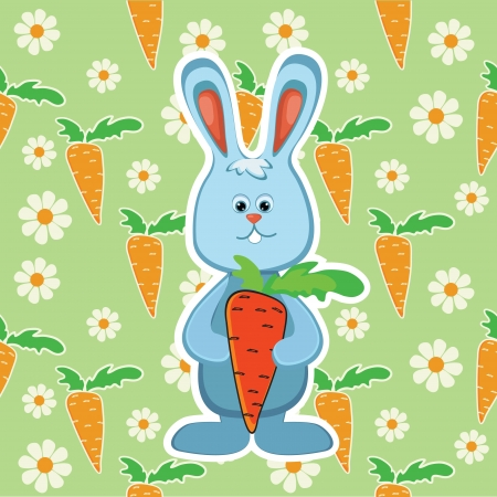 Rabbit with carrot illustration Vector