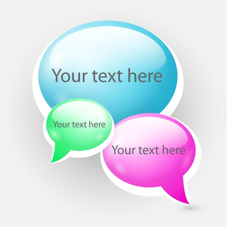 Shiny speech bubbles illustration. Vector