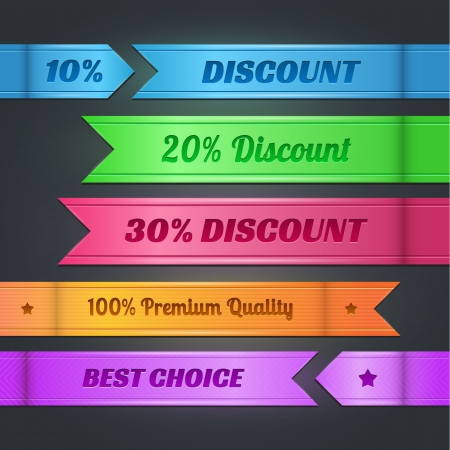 set of colorful discount banners