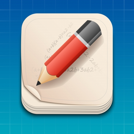 icon of pencil on paper. Vector