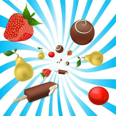 mix of fruits Vector