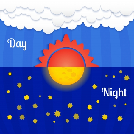 Set of sun and moon, day and night Vector