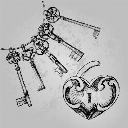 Decorative heart shaped lock with keys. Vector