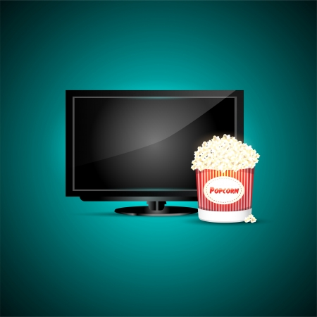 television with popcorn Stock Vector - 19592294