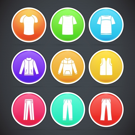 set of clothes colorful icons Stock Vector - 19592247