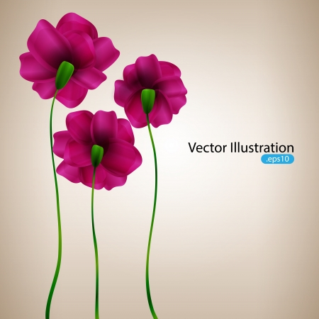 background with pink flowers. Vector