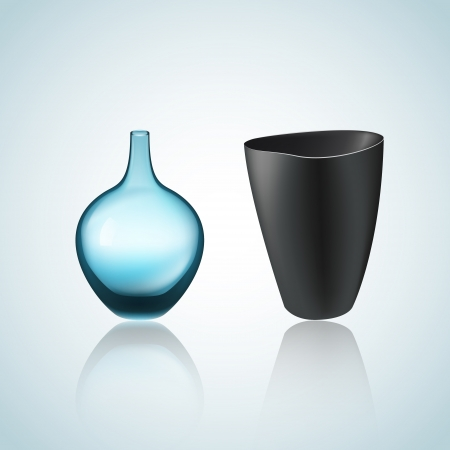 Illustration of vase and bowl Vector