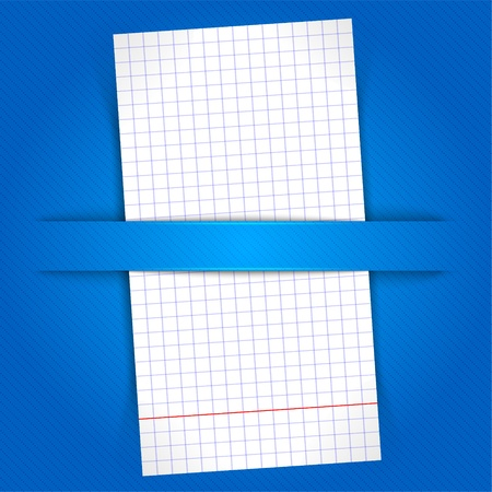 Paper sheet on blue background Vector