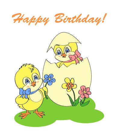Birthday greeting card with chicken Vector