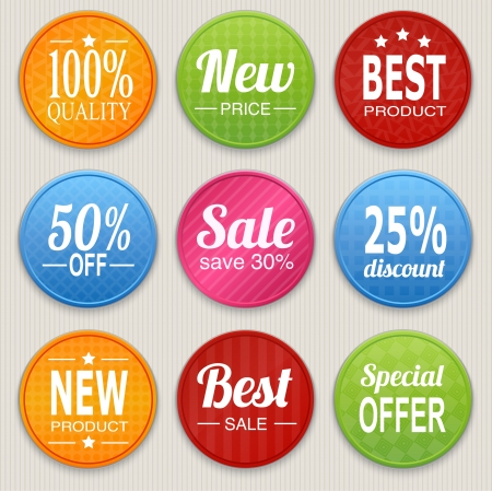Set of colorful advertising stickers illustration