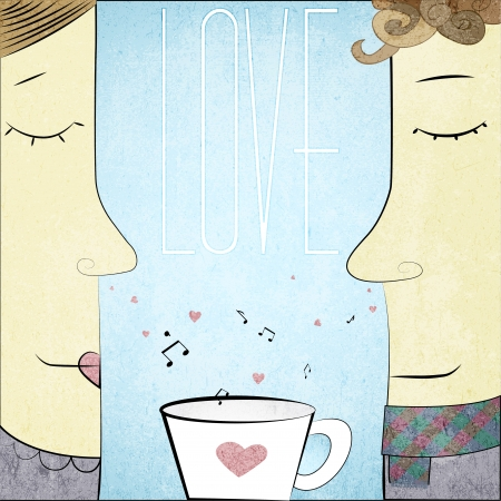 Couple in Love with cup of notes and hearts