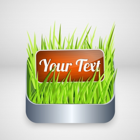 wooden button on grass. Vector