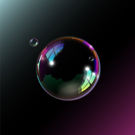 Soap bubbles on black background.